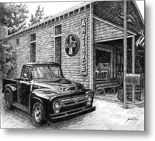 Ford Truck Metal Print featuring the drawing 1956 Ford F-100 Truck by Janet King