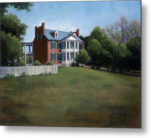 Carnton Plantation Metal Print featuring the painting Carnton Plantation In Franklin Tennessee by Janet King
