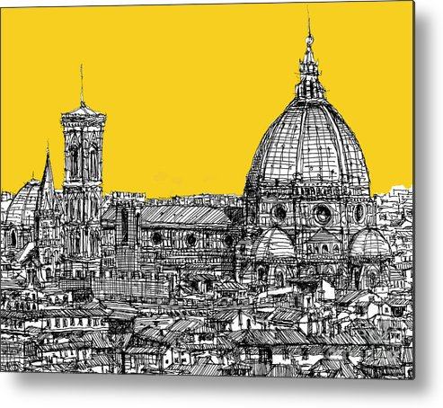 Florence Metal Print featuring the drawing Florence Duomo by Adendorff Design