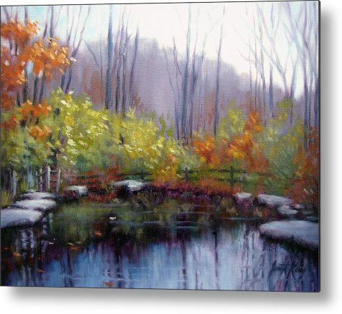 Autumn Metal Print featuring the painting Nature Center Pond At Warner Park In Autumn by Janet King
