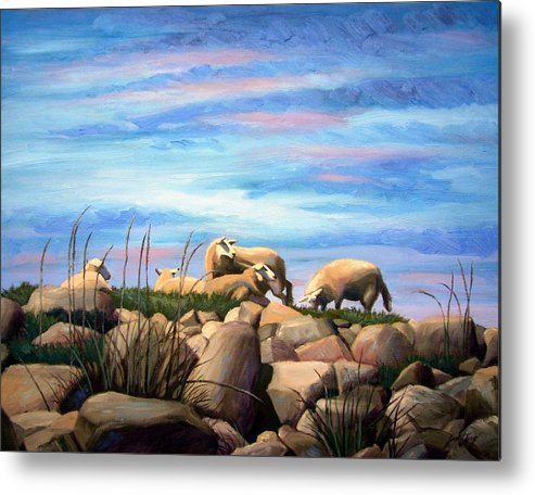 Sheep Metal Print featuring the painting Norwegian Sheep by Janet King