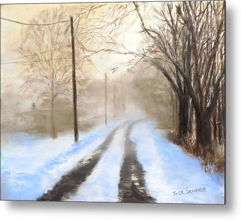 Snow Metal Print featuring the pastel Road To The Ice House by Jack Skinner