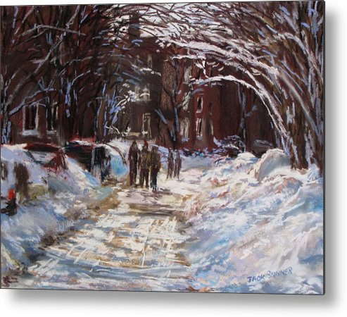 Snow Metal Print featuring the painting Snow In The City by Jack Skinner