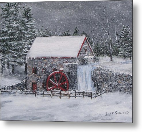 Sudbury Ma Metal Print featuring the painting Longfellow's Grist Mill In Winter by Jack Skinner