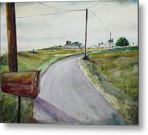 Watercolor Metal Print featuring the painting Mail Call by Scott Nelson