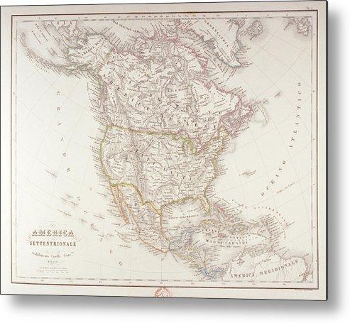 Horizontal Metal Print featuring the digital art Map Of North America by Fototeca Storica Nazionale