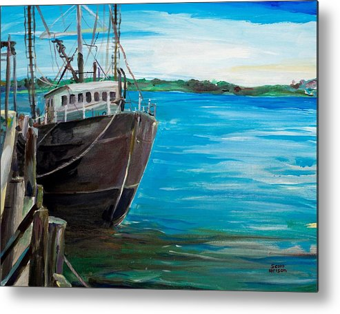 Fishing Boat Metal Print featuring the painting Portland Harbor - Home Again by Scott Nelson