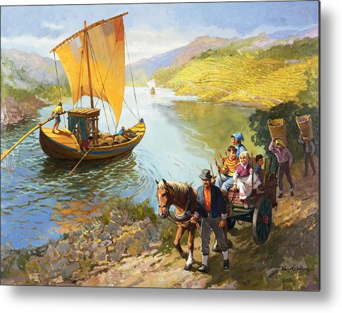 Grapes; Male; Female; Children; Child; Horse And Cart; Ship; Boat; Sail; River; Wine Making; Fruit; Vinivulture; Workers; Creek; Worker Metal Print featuring the painting The Grape-pickers Of Portugal by van der Syde