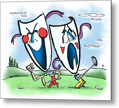 Golf Metal Print featuring the digital art The Two Faces Of Golf by Mark Armstrong