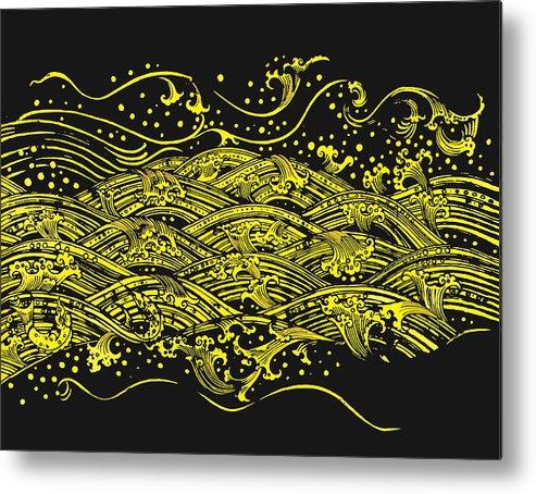Ancient Metal Print featuring the painting Water Pattern by Setsiri Silapasuwanchai