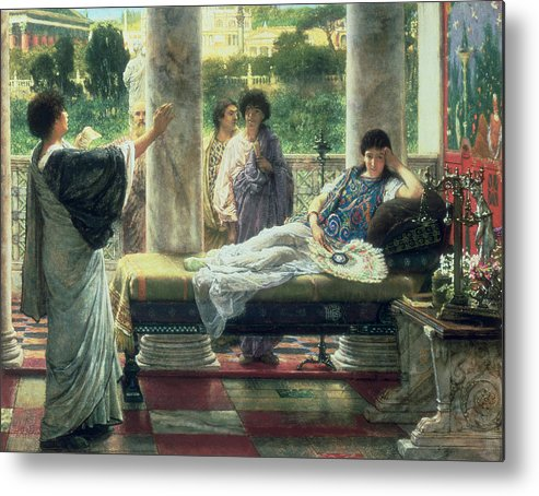 Catullus Metal Print featuring the painting Catullus Reading His Poems by Sir Lawrence Alma-Tadema