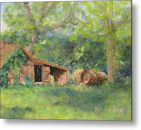 Barn Metal Print featuring the pastel Leftover Hay by Lorraine McFarland