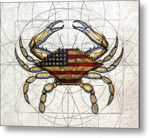 Charles Harden Metal Print featuring the mixed media 4th Of July Crab by Charles Harden