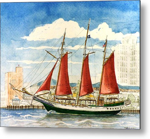 Ship Metal Print featuring the painting American Rover At Waterside by Vic Delnore