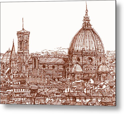 Florence Metal Print featuring the drawing Florence Duomo In Red by Adendorff Design