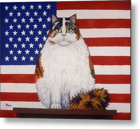 Folk Art Cat Metal Print featuring the painting Kitty Ross by Linda Mears