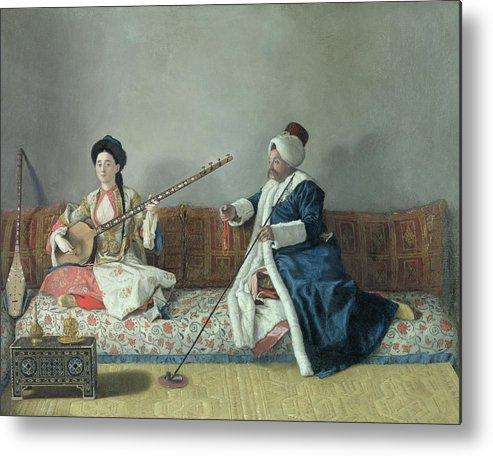 Monsieur Metal Print featuring the painting Monsieur Levett And Mademoiselle Helene Glavany In Turkish Costumes by Jean Etienne Liotard