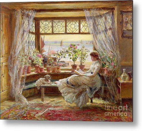 Dog Metal Print featuring the painting Reading By The Window by Charles James Lewis