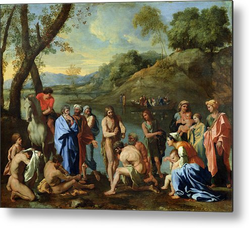 John Metal Print featuring the painting St John Baptising The People by Nicolas Poussin
