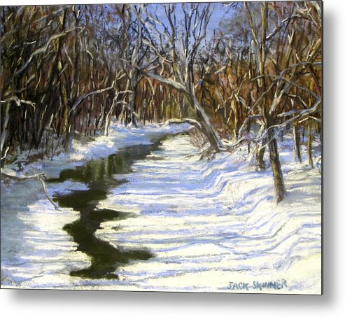 Assabet River Metal Print featuring the painting The Assabet River In Winter by Jack Skinner