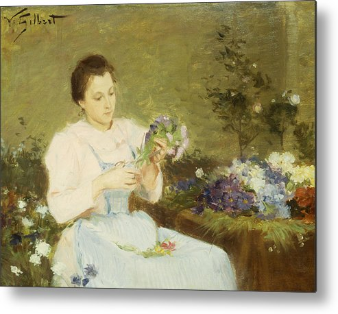 Arranging; Flowers; Flower; Spring; Bouquet; Posy; Floral; Girl; Female; Youth; Young; Seated; Apron; Florist; Floristry; Concentrating; Concentration; Impressionist-style; Loose; Handling; Painterly; Impressionistic; Impressionist Metal Print featuring the painting Arranging Flowers For A Spring Bouquet by Victor Gabriel Gilbert