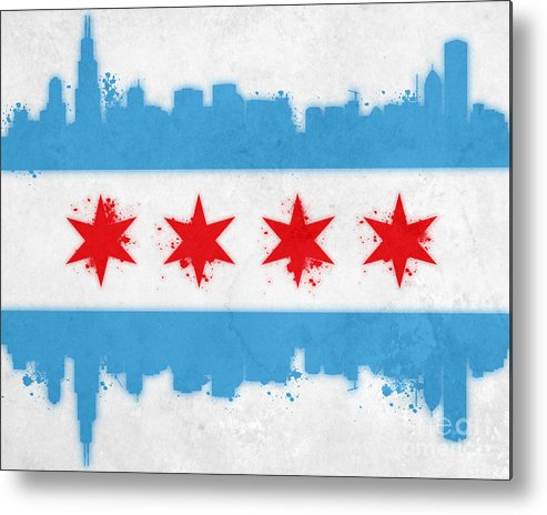 Chicago Metal Print featuring the painting Chicago Flag by Mike Maher