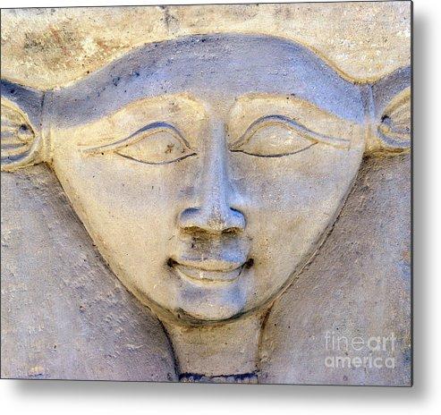 Hathor Metal Print featuring the photograph Dendara Carving 2 - Hathor by Brian Raggatt