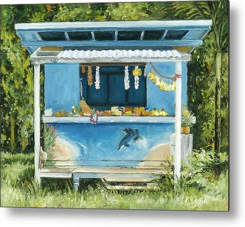 Tropical Fruit Metal Print featuring the painting Dolphin Bar by Stacy Vosberg