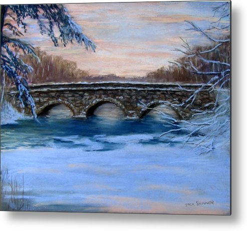 Concord. Winter Metal Print featuring the painting Elm Street Bridge On A Winter's Morn by Jack Skinner