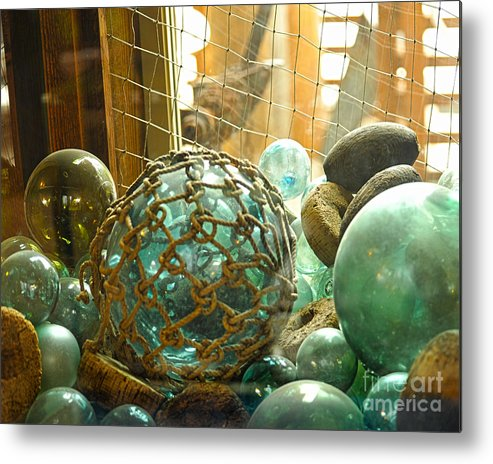 Green Glass Japanese Glass Floats Metal Print by Artist and Photographer Laura Wrede