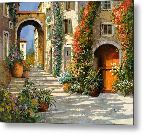 Landscape Metal Print featuring the painting La Porta Rossa Sulla Salita by Guido Borelli
