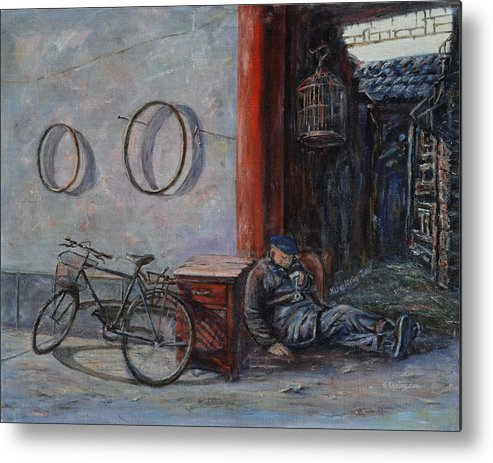 Ancient Metal Print featuring the painting Old Man And His Bike by Xueling Zou