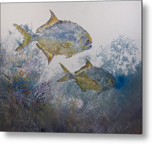 Fish Metal Print featuring the mixed media Pompano And Sea Fans by Nancy Gorr