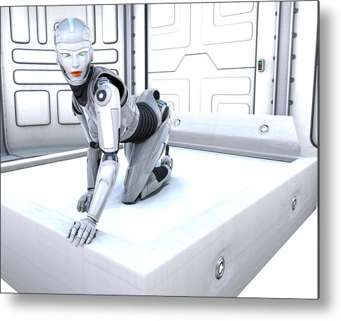 Sci Fi Metal Print featuring the digital art Sexy Machine V1 by Frederico Borges