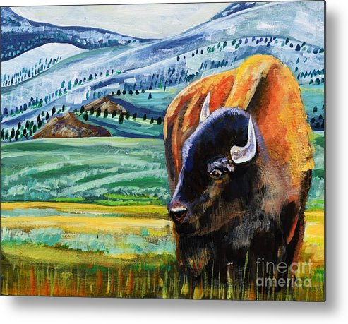 Bison Metal Print featuring the painting Spring Storm by Harriet Peck Taylor