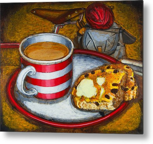 Tea Metal Print featuring the painting Still Life With Red Touring Bike by Mark Howard Jones