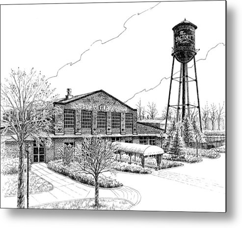 Pen And Ink Drawing Metal Print featuring the drawing The Factory In Franklin Tennessee by Janet King