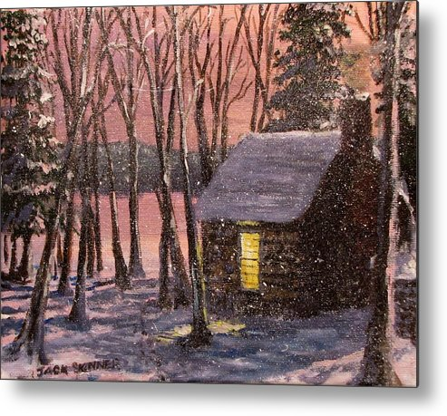 Thoreau's Cabin Metal Print featuring the painting Thoreau's Cabin by Jack Skinner