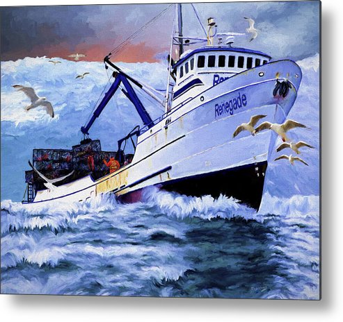 Alaskan King Crabber Metal Print featuring the painting Time To Go Home by David Wagner