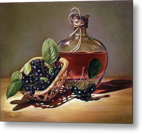Wine Metal Print featuring the drawing Wine And Berries by Natasha Denger