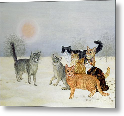 Winter Metal Print featuring the painting Winter Cats by Ditz