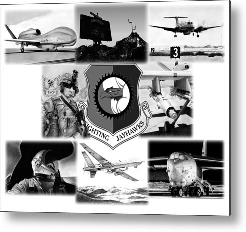 B-52 Metal Print featuring the mixed media Collage by Lyle Brown