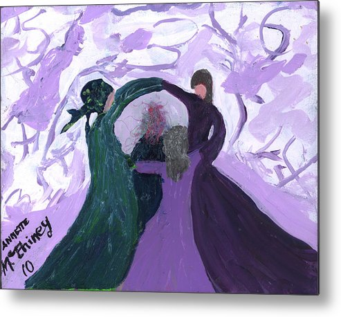 Women Metal Print featuring the painting Nicki's Support Circle by Annette McElhiney