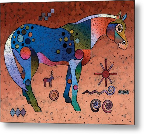 Animal Art Metal Print featuring the painting Southwestern Symbols by Bob Coonts