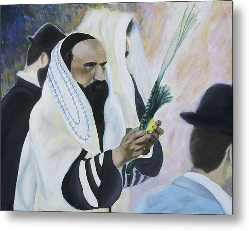 Fine Art Metal Print featuring the painting Sukkot by Iris Gill