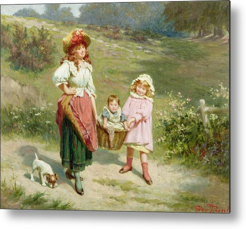 Puppy; Baby; Basket; Country Road; Girl Metal Print featuring the painting To Market To Buy A Fat Pig by Edwin Thomas Roberts