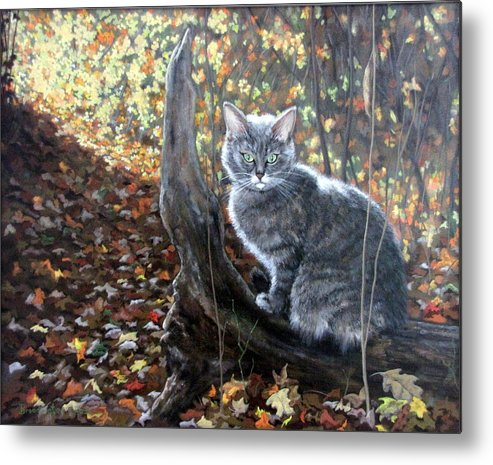 Kitten Metal Print featuring the painting Waiting In The Woods by Sandra Chase
