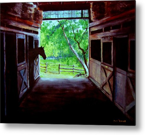 Horse Metal Print featuring the painting Water's Edge Farm by Jack Skinner