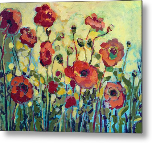 Poppy Metal Print featuring the painting Anitas Poppies by Jennifer Lommers