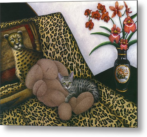 Gray Tabby Cat Metal Print featuring the painting Cat Cheetah's Bed by Carol Wilson